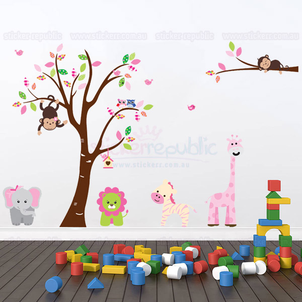 Jungle Animal and Tree Wall Sticker|Jungle Animal Wall Decal for Kid's Room Decor