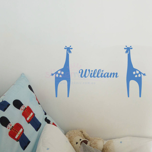 Custom Boy's Name and Giraffe Wall Decal Sticker