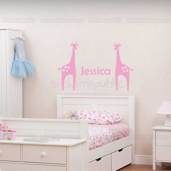 Custom Girl's Name and Giraffe Wall Sticker|Giraffe Wall Decal