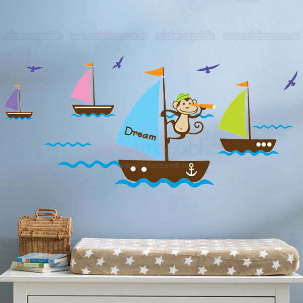Sailor Monkey on Sailing Boat Wall Decal for Boy's Room Decor
