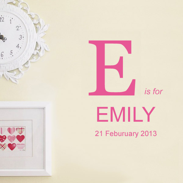Initial and DOB Custom Name Wall Sticker