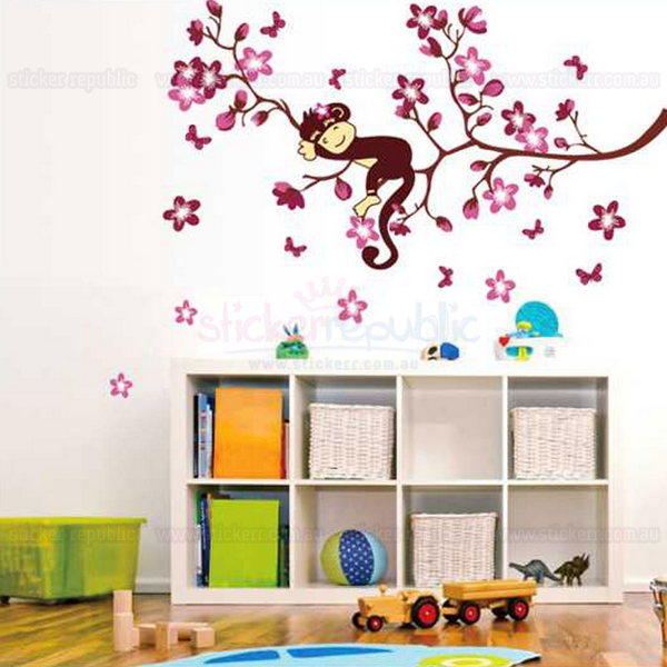 Pinky Monkey Wall Sticker for Girl's Room Wall Decor