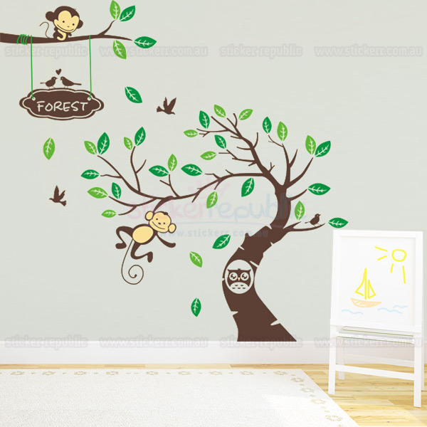 Monkeys and Owl Tree Wall Decal - Large