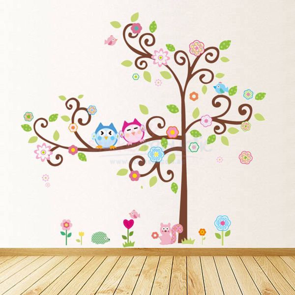 Owls Friends and Tree Wall Sticker