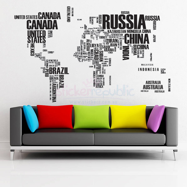 Large World Map Wall Decal - Black|Words World Map Wall Sticker