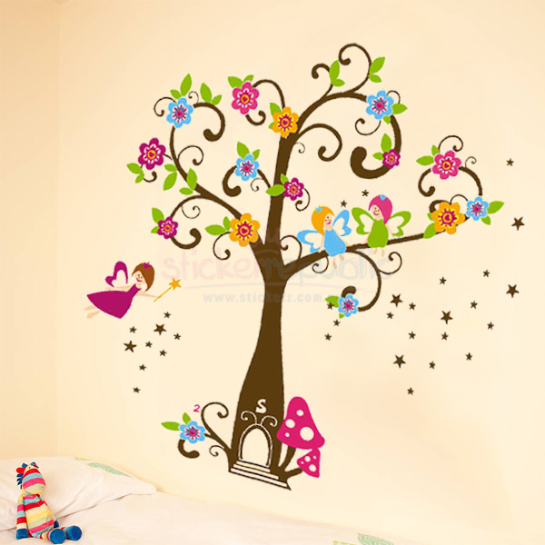 Fairy Tree Wall Decal Sticker for Girl's Room Wall Decor