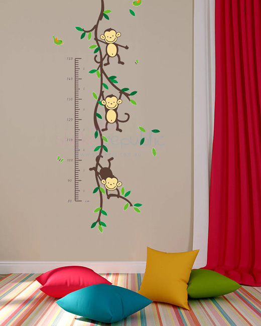 Monkey Growth Height Chart Wall Sticker Wall Decal for Kid's Room