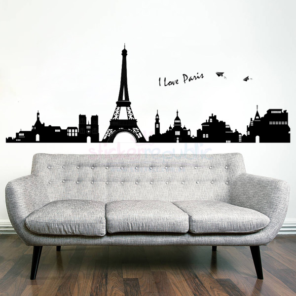 Paris City Skyline Eiffel Tower Wall Decal Wall Sticker