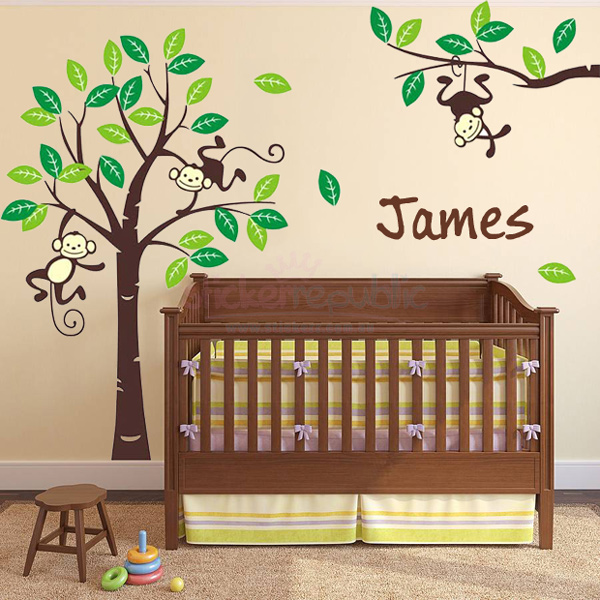 Personalised Name and Monkey Hanging Over Tree Wall Sticker