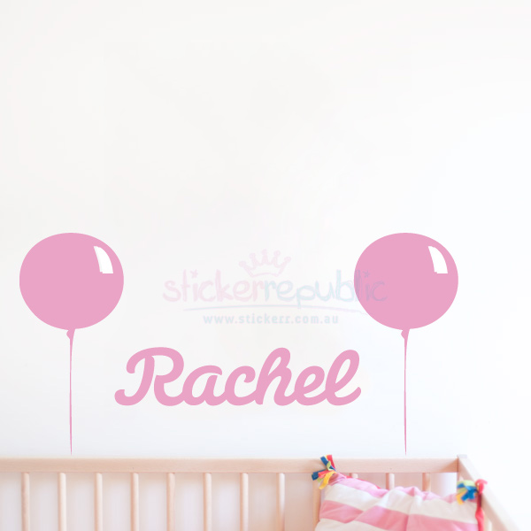 Personalised Girl's Name and Balloon Wall Decal|Balloon Wall Sticker