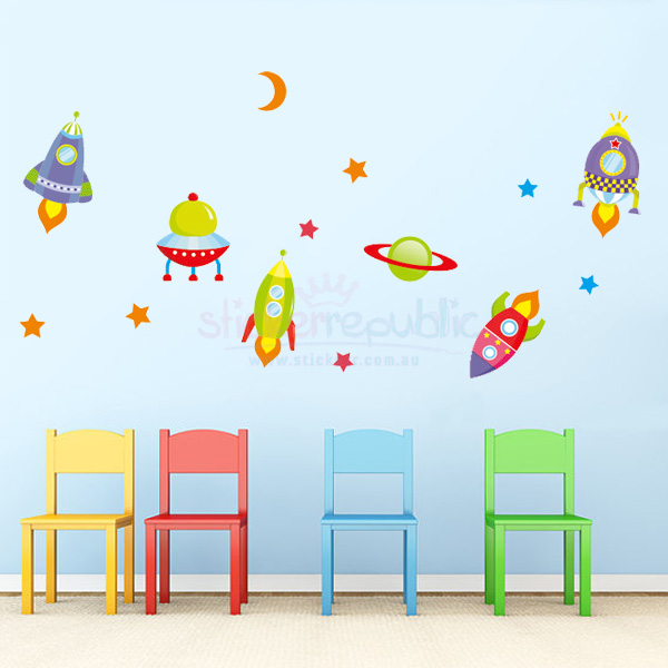 Moon Stars and Spaceship Wall Decals | Outer Space Wall Stickers