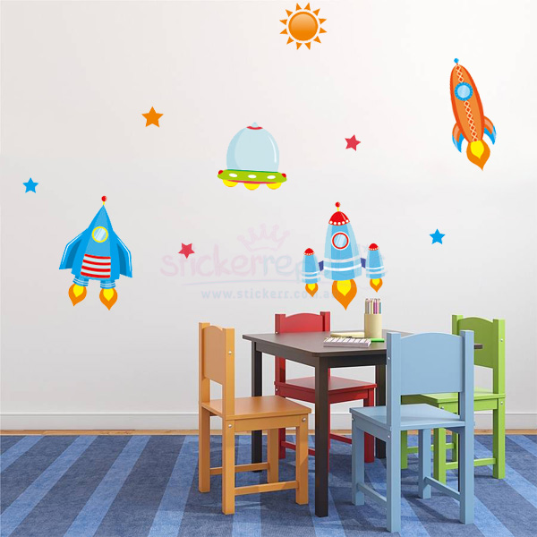 Sun Stars and Spaceship Wall Decals | Outer Space Wall Stickers