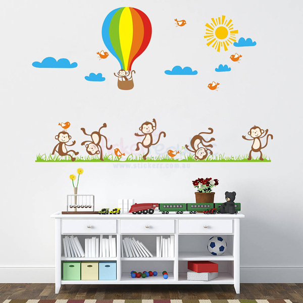 Monkeys Dancing Party Wall Sticker