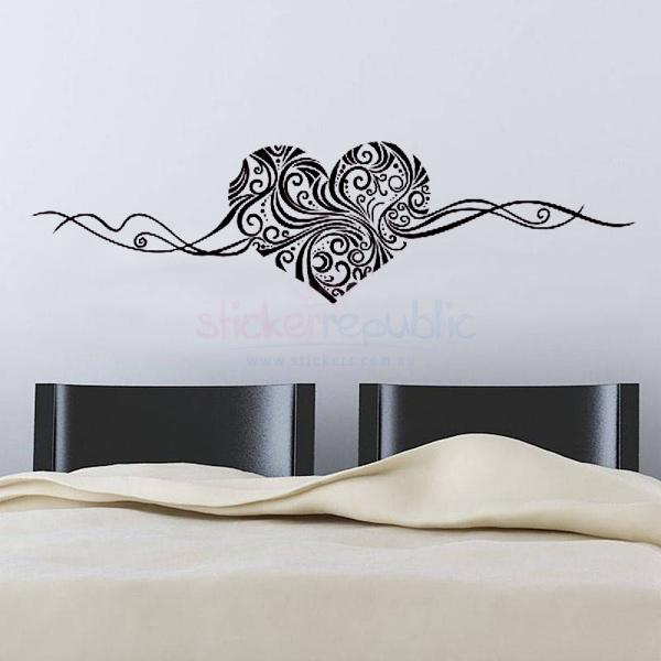 Swirly Black Heart Wall Decal