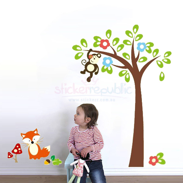 Swing Monkey Tree Wall Sticker