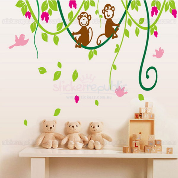 Two Monkeys on the Vine Wall Decal
