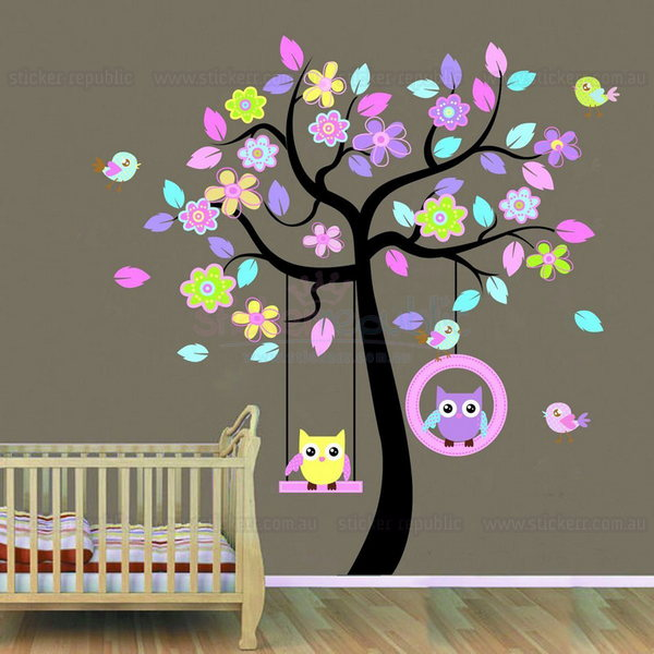 Swing Owls and Tree Wall Sticker
