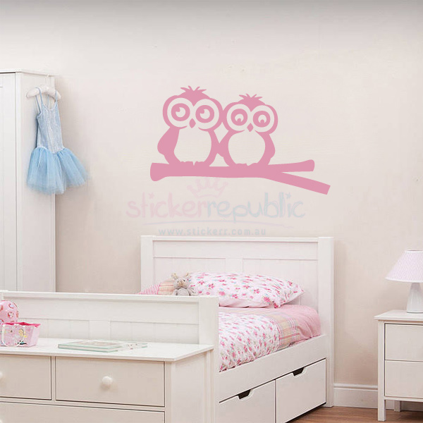 Two Owls On Branch Wall Sticker for Girl's Room Wall Decor