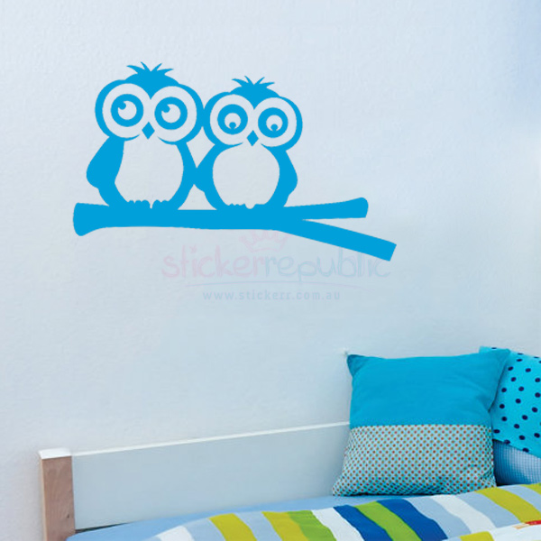Two Owls On Branch Wall Sticker for Boy's Room Wall Decor