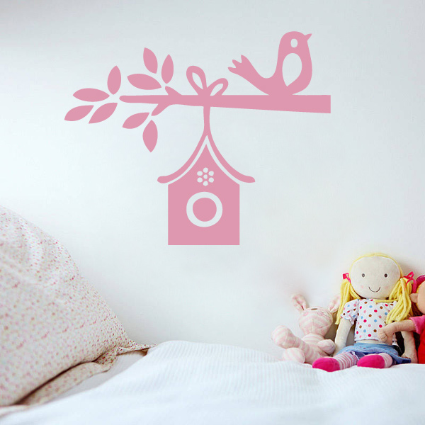 Sweet Bird House Wall Sticker|Birdhouse Wall Decal for Girl's Room Decor