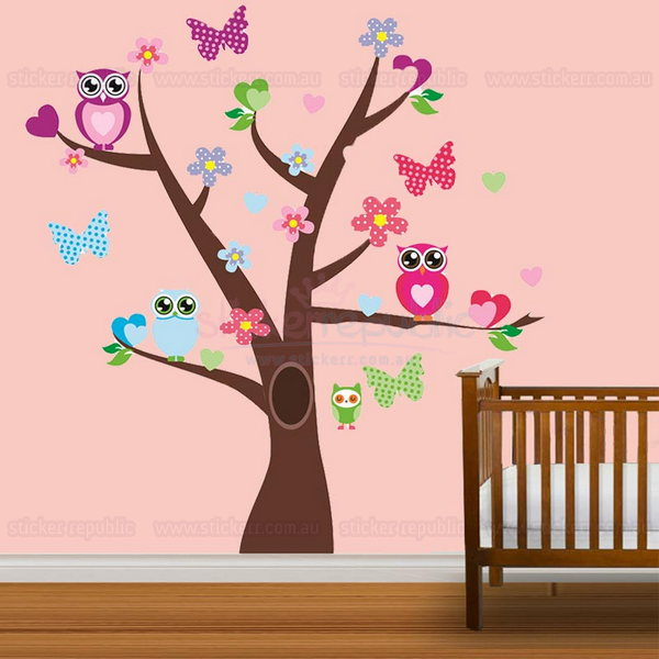 Pretty Owls and Tree Wall Sticker for Girl's Room Decor