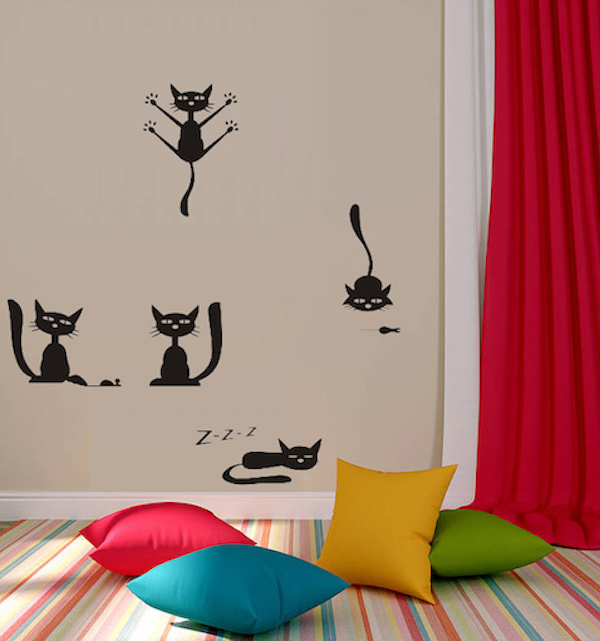 Five Cute Pussy Cats Wall Sticker