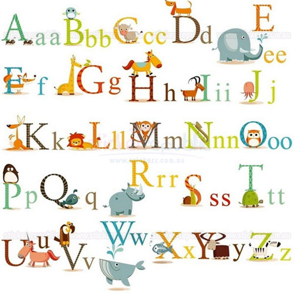 26 Animal Alphabet Letters Wall Stickers for Kid's Room Decor