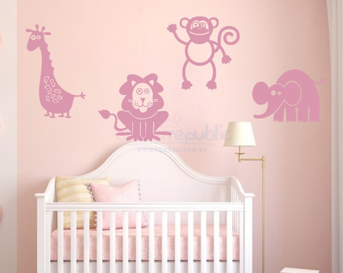 Four Jungle Animals Wall Sticker