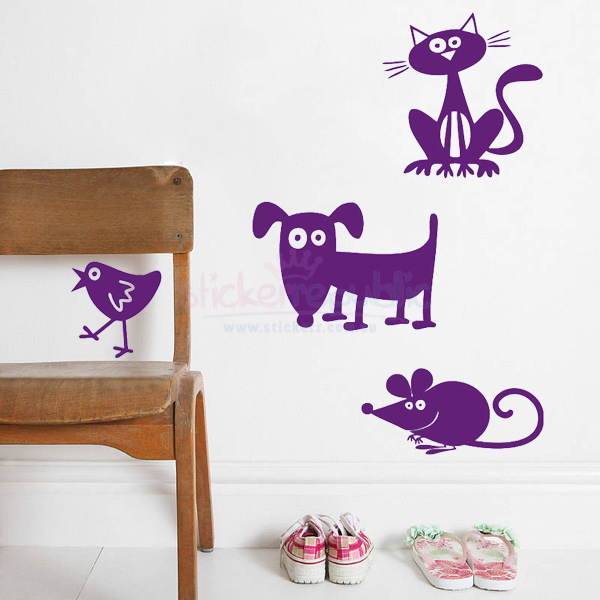 Four Pet Animals Wall Decal