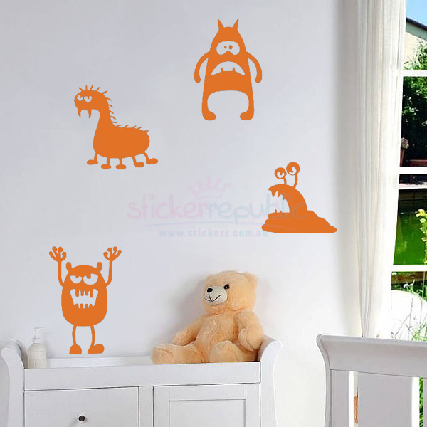 Four Funny Monsters Wall Decal