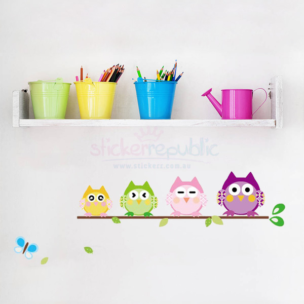 Owls Family Wall Sticker [B]