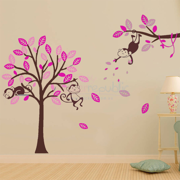 Girl's Monkey Hanging Over Tree Wall Decal - Brown XLarge