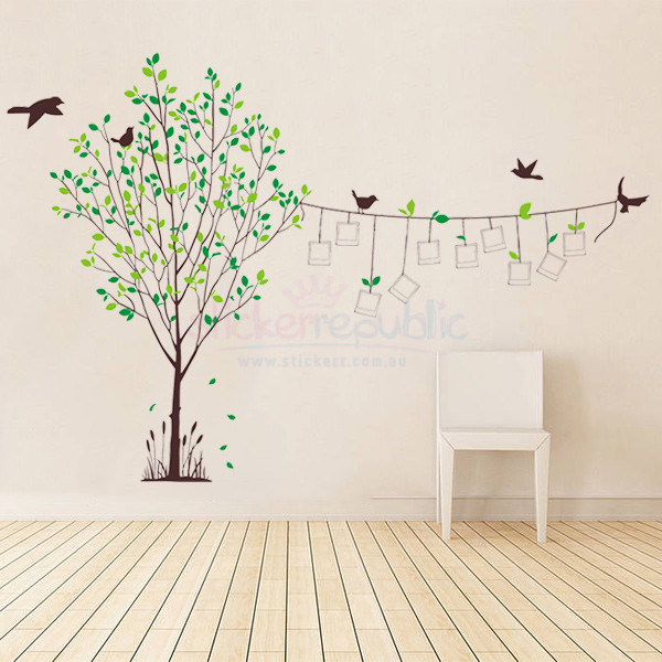 Large Tree and Birds Photo Frame Wall Sticker