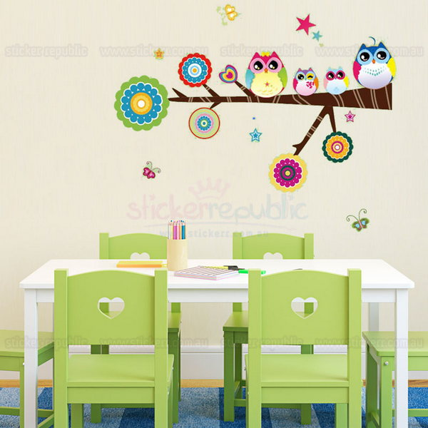 Hoot Hoot Owl Family On Branch Wall Decal|Owl Wall Sticker
