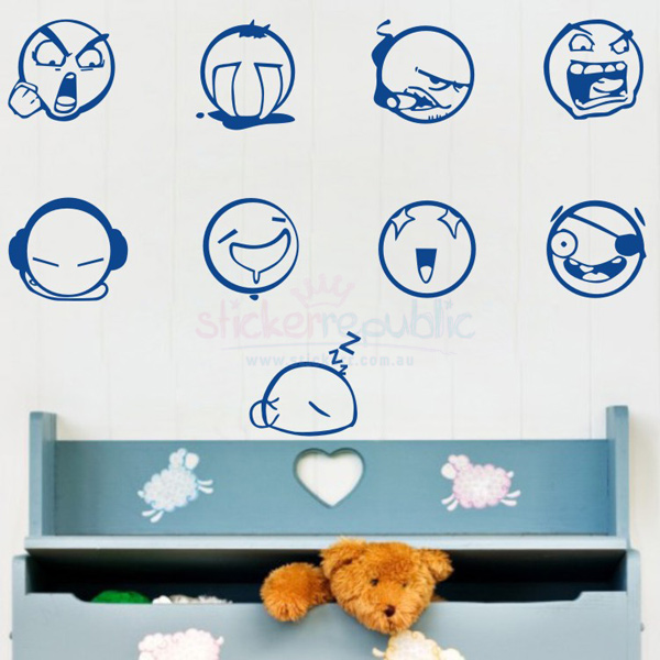 Funny Face Expressions Wall Decals