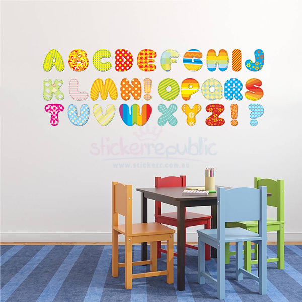 Colourful 26 Alphabet Letters Wall Decal|Alphabet Wall Sticker for Kid's Room