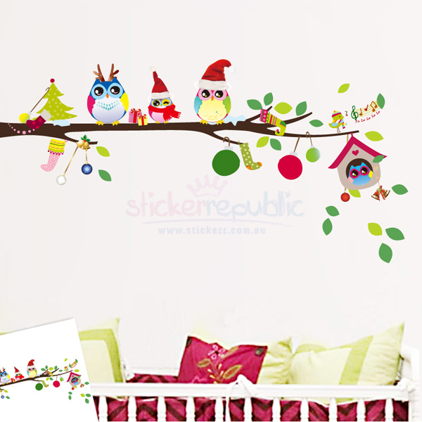 Cute Christmas Owls on Tree Branch Wall Sticker