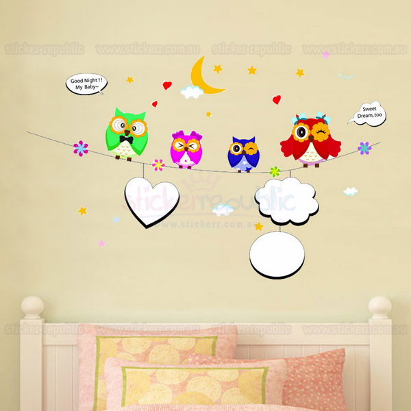 Night Owls Wall Sticker for Nursery Wall Decor