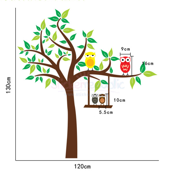 Hoot Hoot Friends and Tree Wall Sticker for Nursery|Tree and Owls Wall Decal