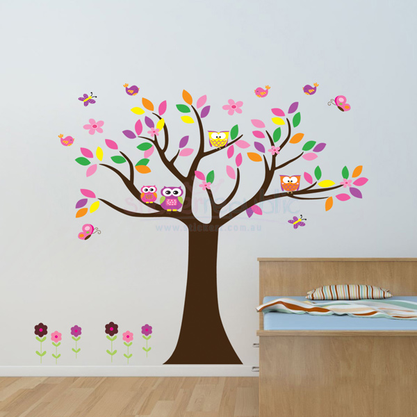 Colourful Owls Tree and Flowers Wall Decal|Colourful Wall Sticker