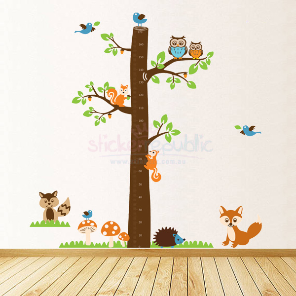 Friendly Animals and Tree Height Chart Wall Decal