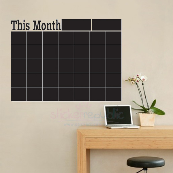 Chalkboard Calendar|Blackboard Monthly Planner Wall Sticker