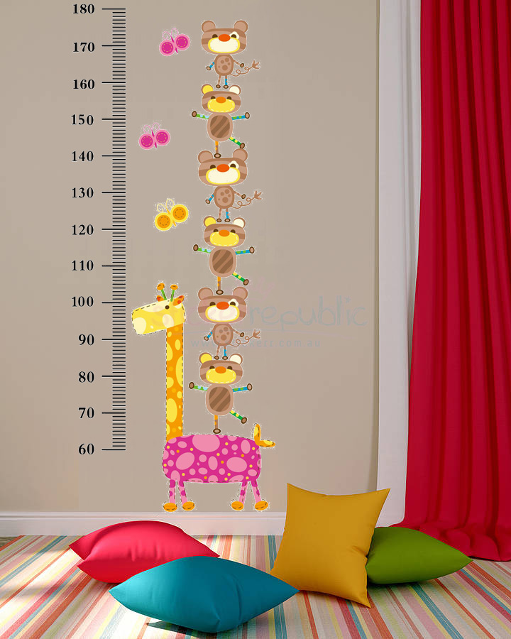 Lovely Giraffe Growth Chart Wall Sticker for Kid's Room