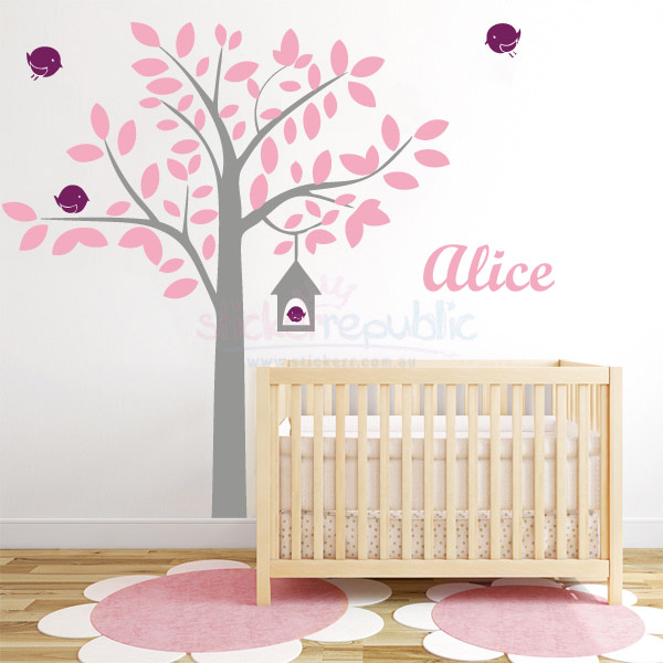 Custom Name Birds House Tree Wall Sticker|Birdhouse Wall Decal
