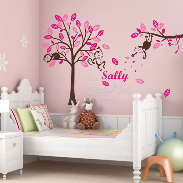 Girl's Personalised Name Monkey Hanging Over Tree Wall Sticker - Brown Large