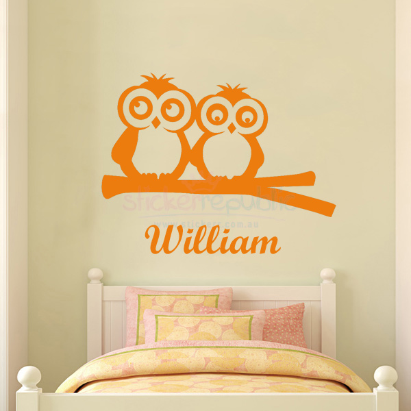 Custom Name and Owls on Branch Wall Sticker for Boy's Room Decor