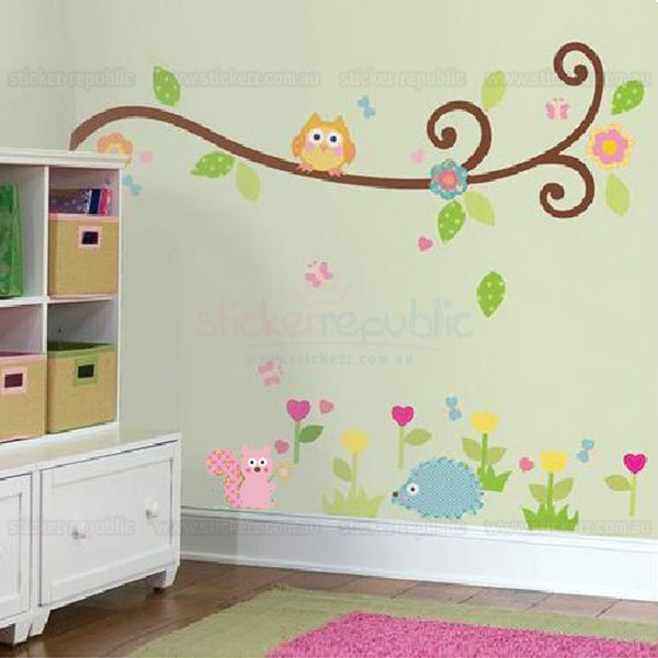 Happy Scroll Tree Branch Wall Sticker