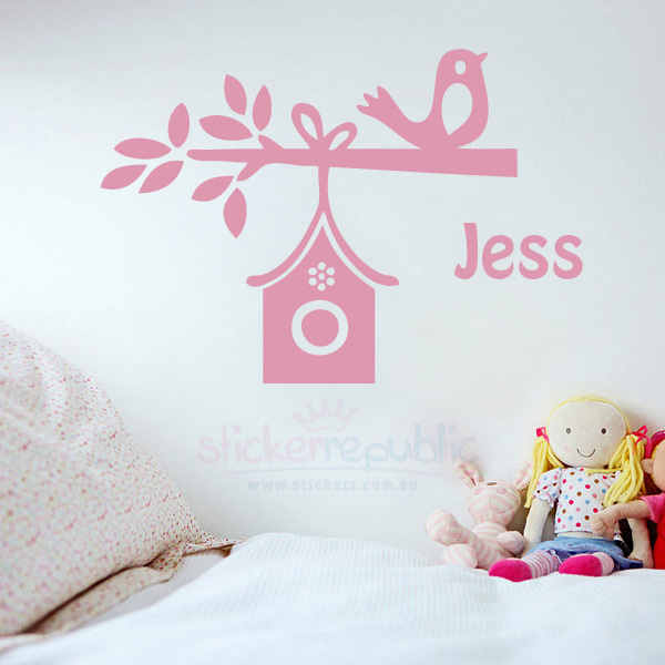 Girl's Custom Name With Bird Sweet Home Wall Decal