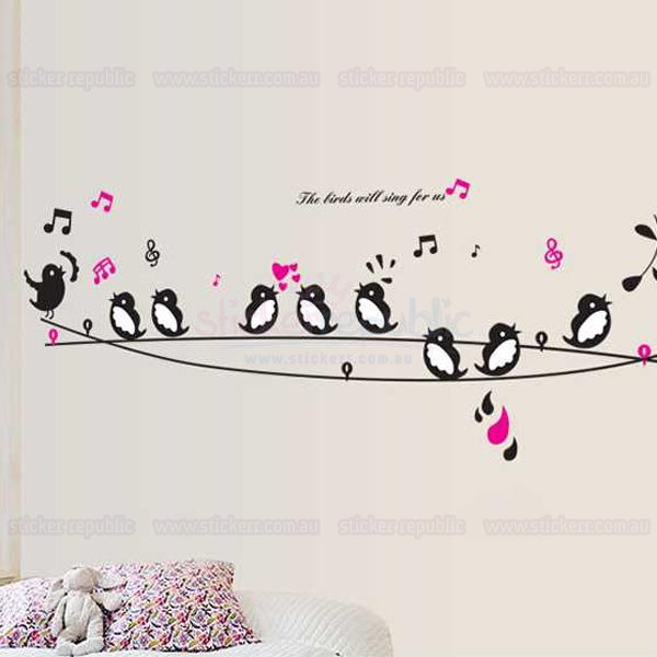 Birds Concert on Wire Bird Wall Decal