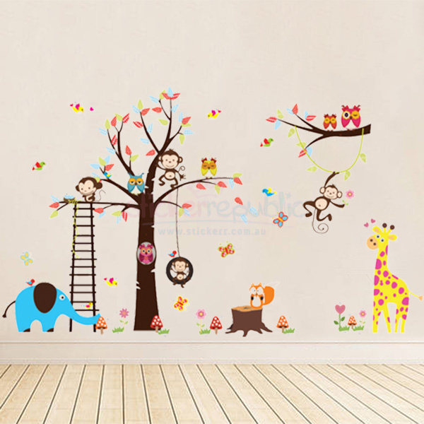 Elephant Giraffe Fox Owls Monkey on Ladder Large Tree Wall Sticker